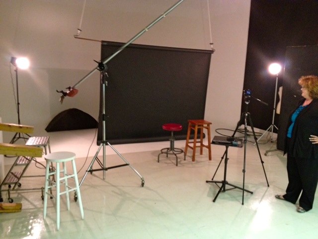 Here is one of the photography studios on the 6th floor of the Courier-Journal building.  Photographer Mary Ann Gerth was shooting a video of Rachel Platt and me on the subject of the importance of reading books.