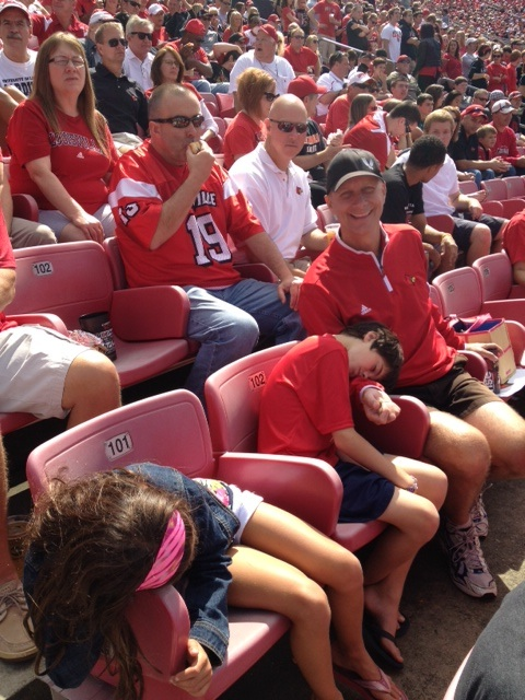 The University of Louisville football team beat Florida International University 72-0.  The kids were thrilled.