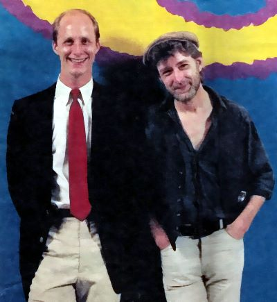 "This photo, also shot in that 6th floor studio, was used as the cover on the May 26, 1985 Courier-Journal Magazine.  The cover script said: ""Terry Meiners and Ron Clay will say almost anything so long as it's tasteless,  tactless and offends almost everyone. No wonder so many listeners love them."""