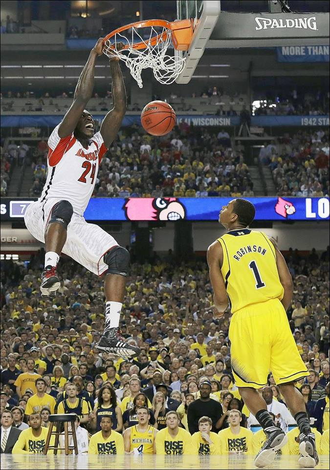 Montrezl Harrell gives Louisville the lead for good late in the first half of the 2013 NCAA Championship.  Prior to this dunk, Louisville had been down as many as 13 points.  Luke Hancock popped three 3-pointers in a row before Trez slammed home this lead changer. (April 2013)