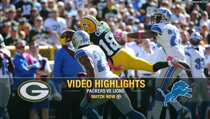 Randall Cobb needs only one hand to pull in an Aaron Rodgers pass, October 6, 2013