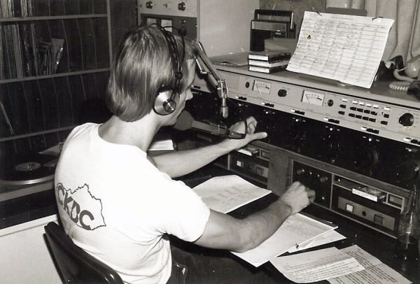 Terry Meiners on the air at beginning of his radio career -- WKQQ-FM (Lexington) in 1977.