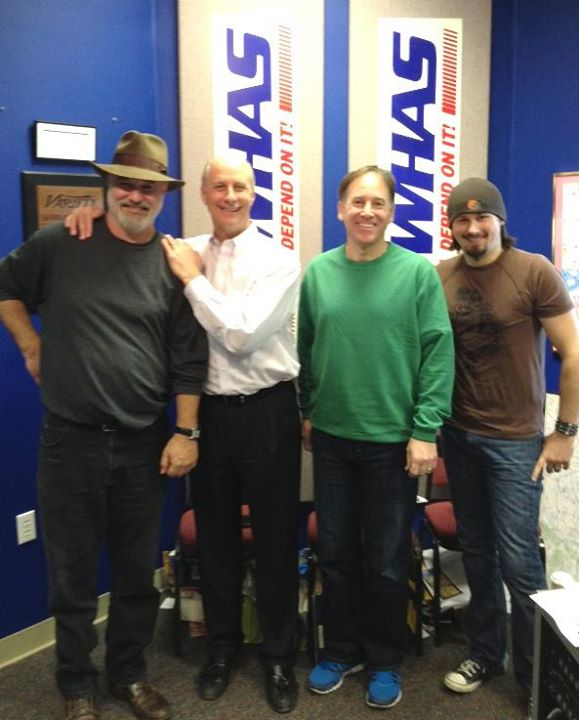 Tim Wilson, Terry Meiners, Lachlan McLean, and guitarist Scotty Bratcher at WHAS Radio studios, February 2013