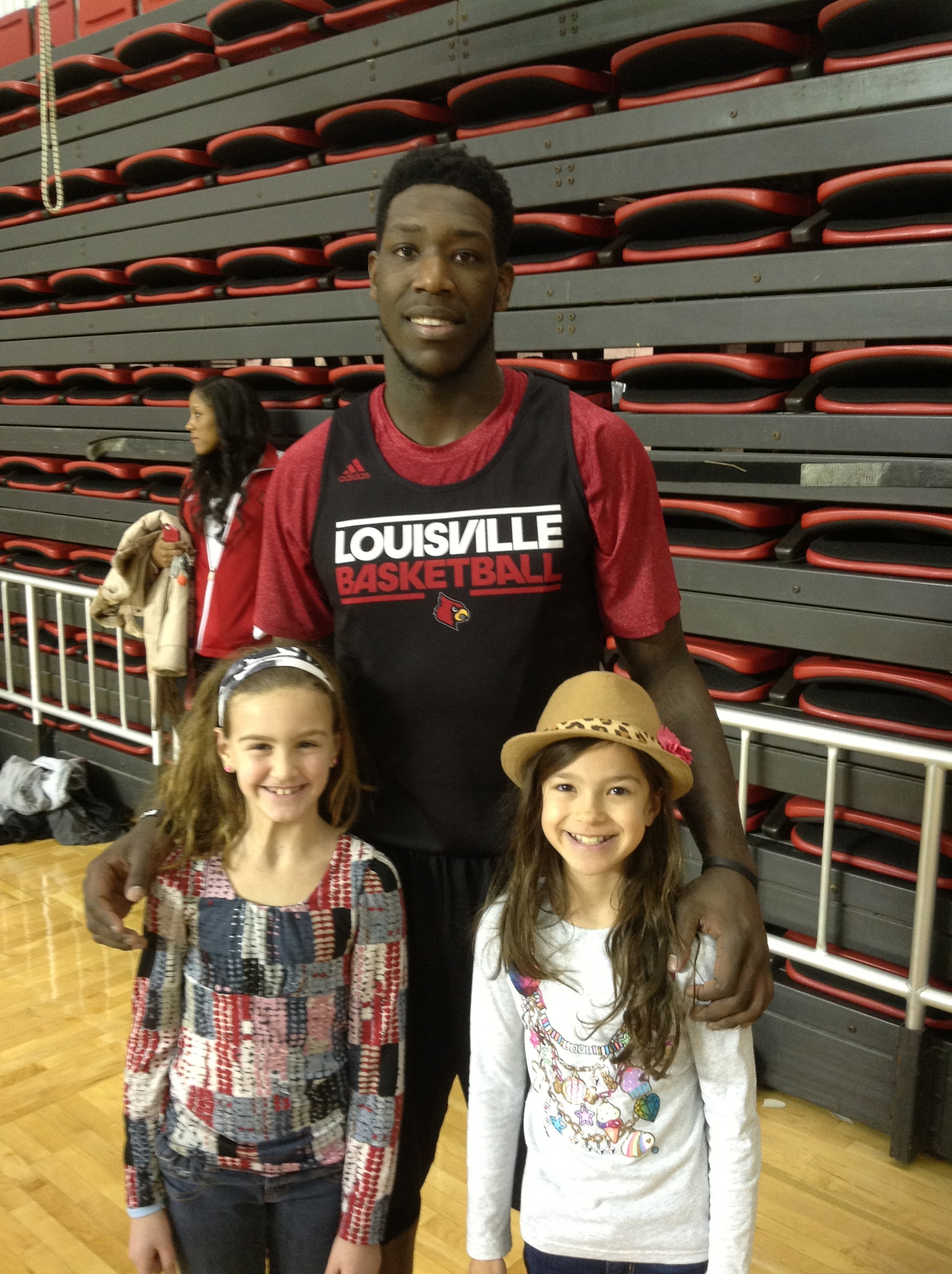 Piper & Gracie met Montrezl Harrell at the University of Louisville basketball training facility, February 2014
