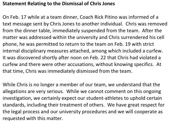 UofL released this statement on February 26, 2015 as Chris Jones was being arraigned in Jefferson Circuit Court.