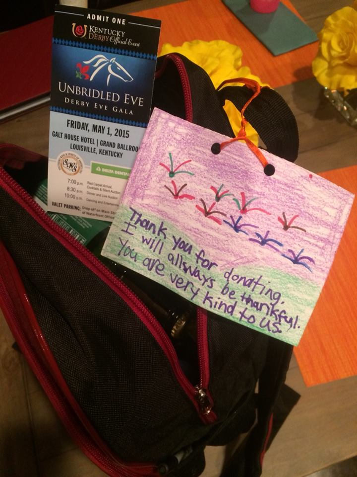 Each of the Unbridled Eve celeb participants were given a back of Kentucky products related to health and nutrition and topped with a personal note from a young beneficiary of Blessings in a Backpack
