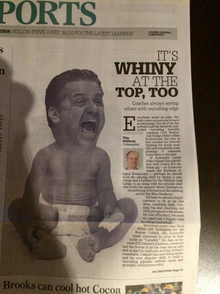 The Courier Journal was forced to apologize to John Calipari for publishing this caricature of the Kentucky coach in 2014.