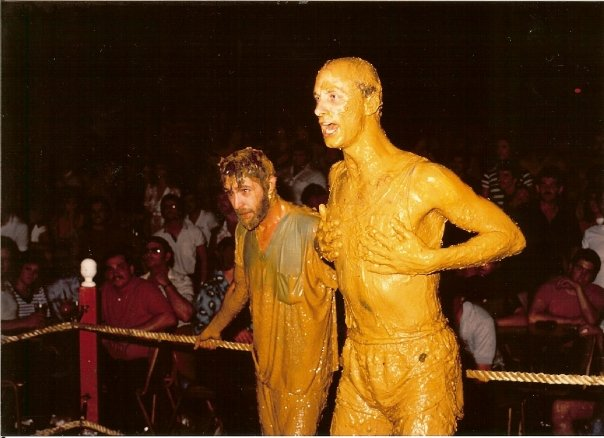 Ron Clay & Terry Meiners mud wrestling women posing as nuns.  The nuns won in a double knockout. (Toy Tiger, 1983)