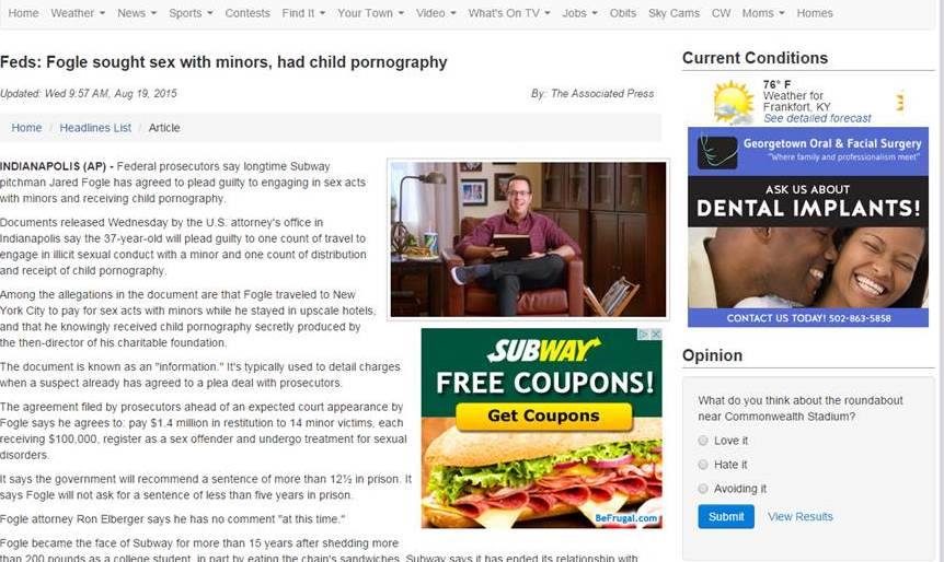 Subway ad appears on web page chronicling former Subway spokesperson's acknowledgement of guilt in child porn case, August 19, 2015
