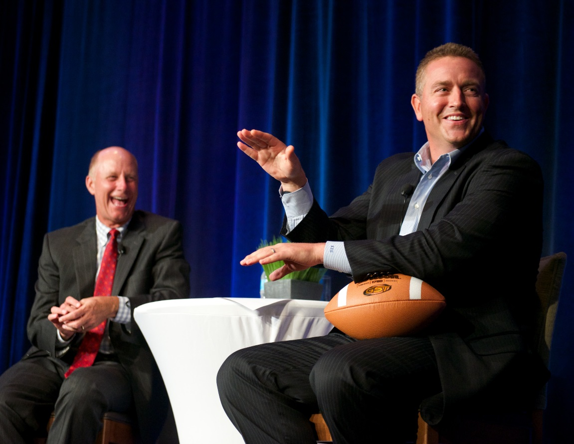 Terry Meiners & Kirk Herbstreit, August 4, 2015 (photo by John Nation)