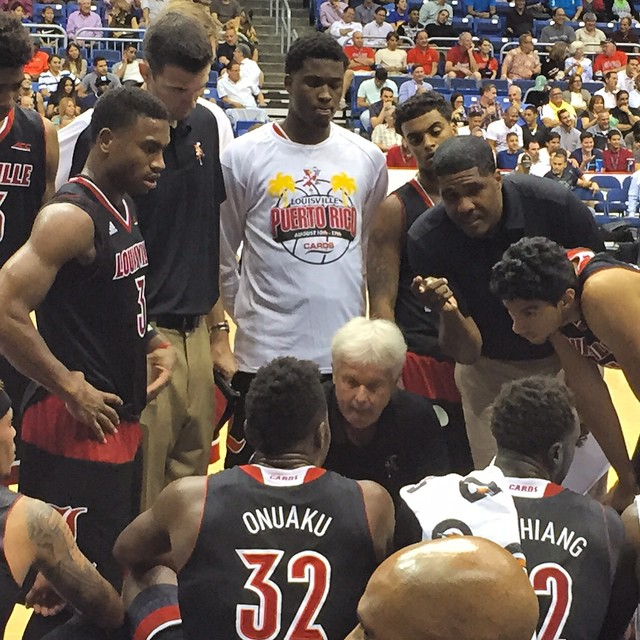 Coach Ralph Willard directs the UofL Cardinals in their opening game against the Puerto Rico National team.  August 11, 2015