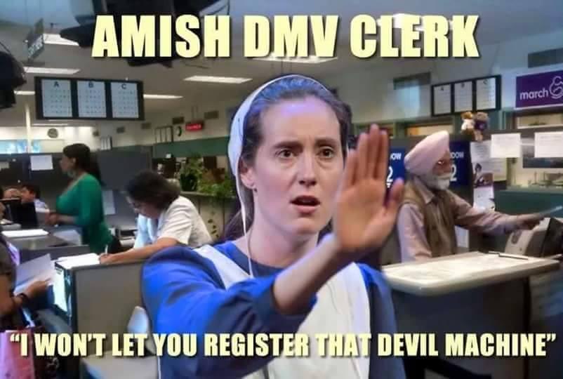 amish DMV clerk