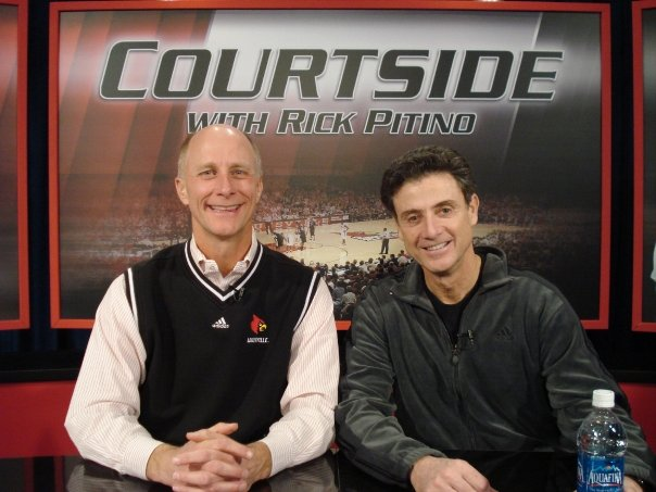 Terry Meiners & Rick Pitino on the WHAS-TV set of Pitino's weekly coach's show (2012)