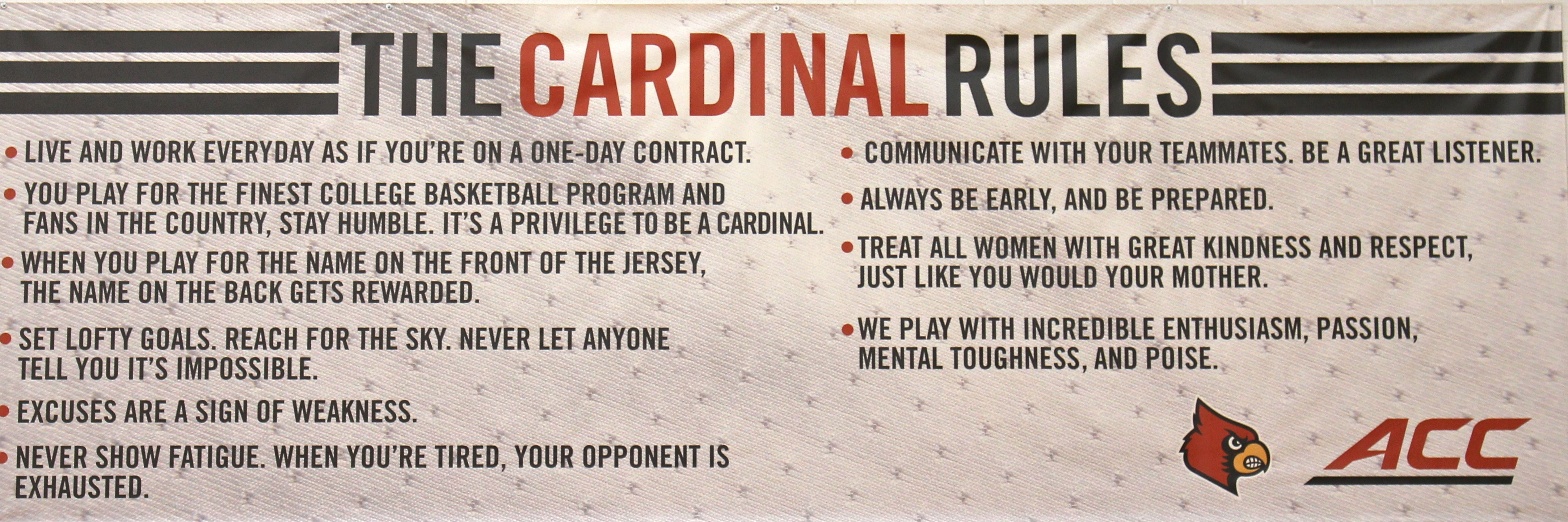 """Cardinal Rules"" posted for players in the Yum! practice center on campus"
