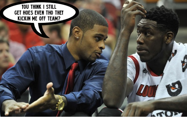Online taunts are relentless.  This meme shows Chane Behanan with Montrezl Harrell.   Behanan had numerous discipline issues while at Louisville before he was indeed dismissed from the team.