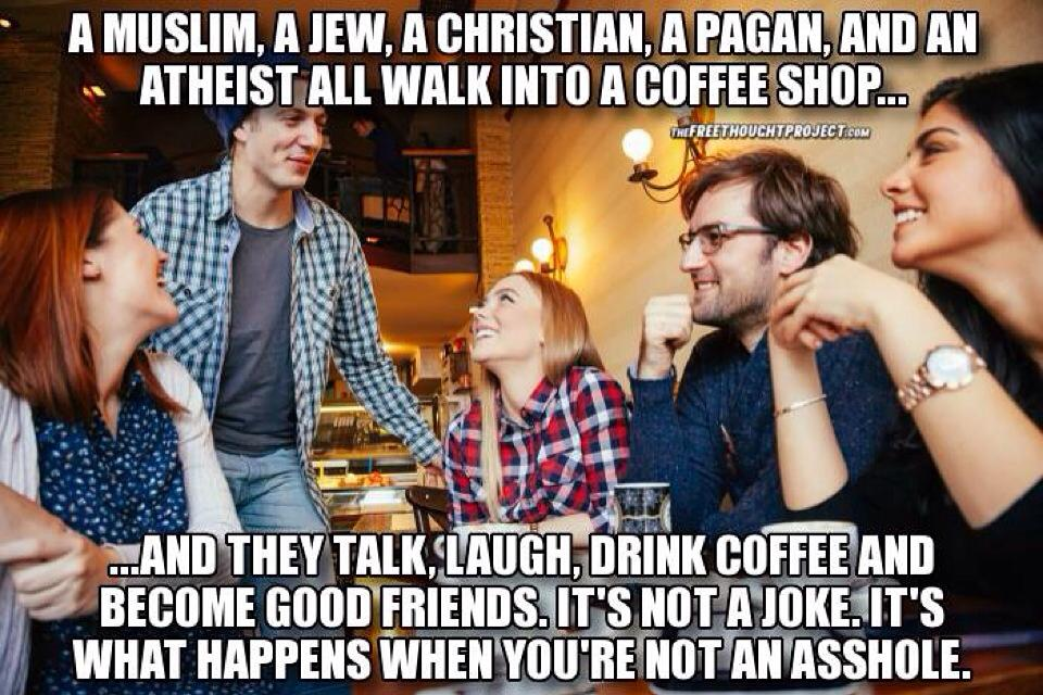 jew muslim christian pagan coffee shop