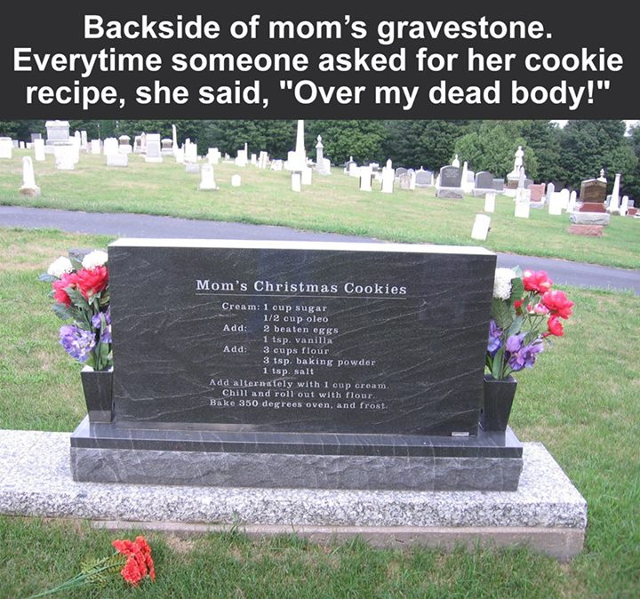 mom cookie recipe my dead body