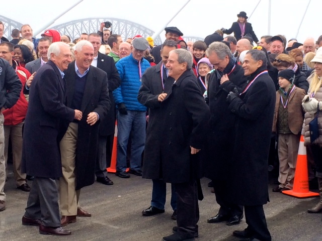 Governors Steve Beshear (D-KY) and Mike Pence (R-IN) pushed aside policy differences to laugh it up at the dedication of the Abraham Lincoln Bridge.  (Dec 5, 2015)