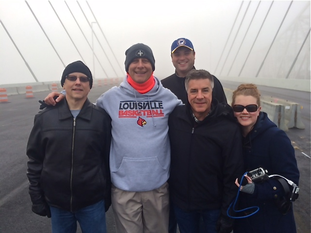 840WHAS Radio's iHeartMedia broadcast crew of Kelly Carls, Terry Meiners, Will Clark, Tony Cruise, Jenny Clements, and Mike Powell (not pictured) delivered the only live broadcast of the Abraham Lincoln Bridge dedication.  Police estimate that 50,000 pedestrians walked onto the bridge during the four hour opportunity.  (12/05/15)
