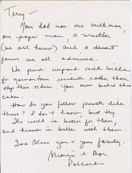 A letter sent to Terry Meiners after the passing of Mel Meiners in 2008