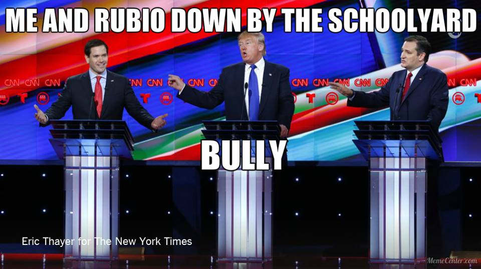 Marco Rubio, Donald Trump, and Ted Cruz at the 12th Republican Debate, February 25, 2016