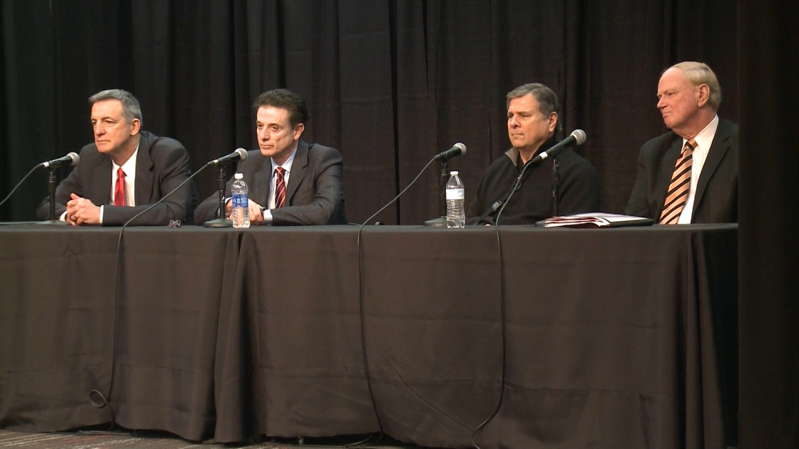 Chuck Smrt, Rick Pitino, Tom Jurich, and James Ramsey (Feb 5, 2016 via WLKY)