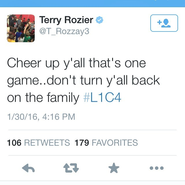 Terry Rozier tweet following Louisville's worst loss ever in the Yum Center (vs Virginia on Jan 30, 2016)