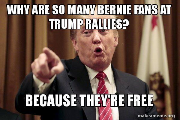 bernie fans at trump rallies