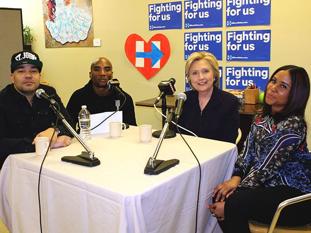 Hillary Clinton with the Power 105 morning team in NYC, April 18