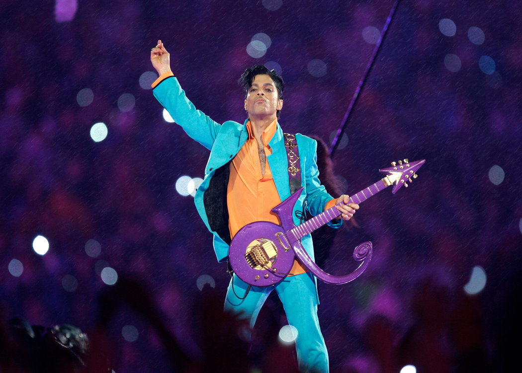 Prince performs at the 2007 Super Bowl