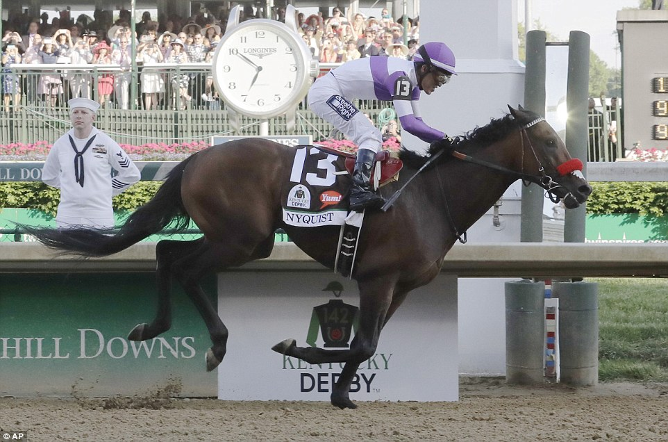 Nyquist made a terrific stretch run to win the Kentucky Derby over a charging Exaggerator, with Gun Runner holding onto third.  Outstanding finish. (Getty photo)
