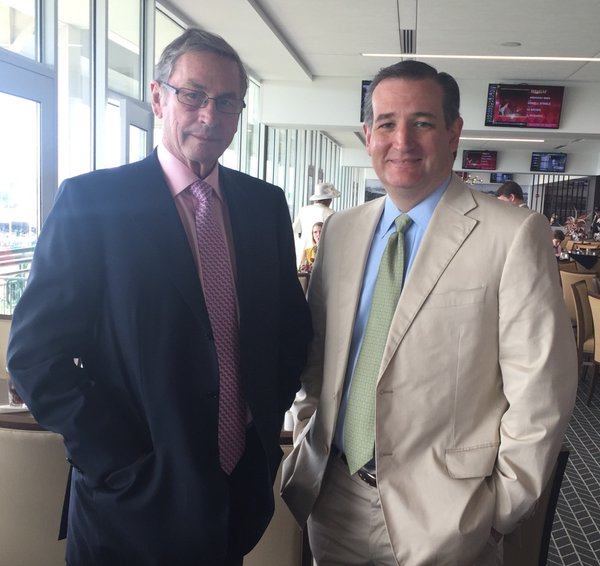 British politician/businessman Lord Ashcroft and Ted Cruz on Millionaire's Row at the Kentucky Derby, May 7, 2016