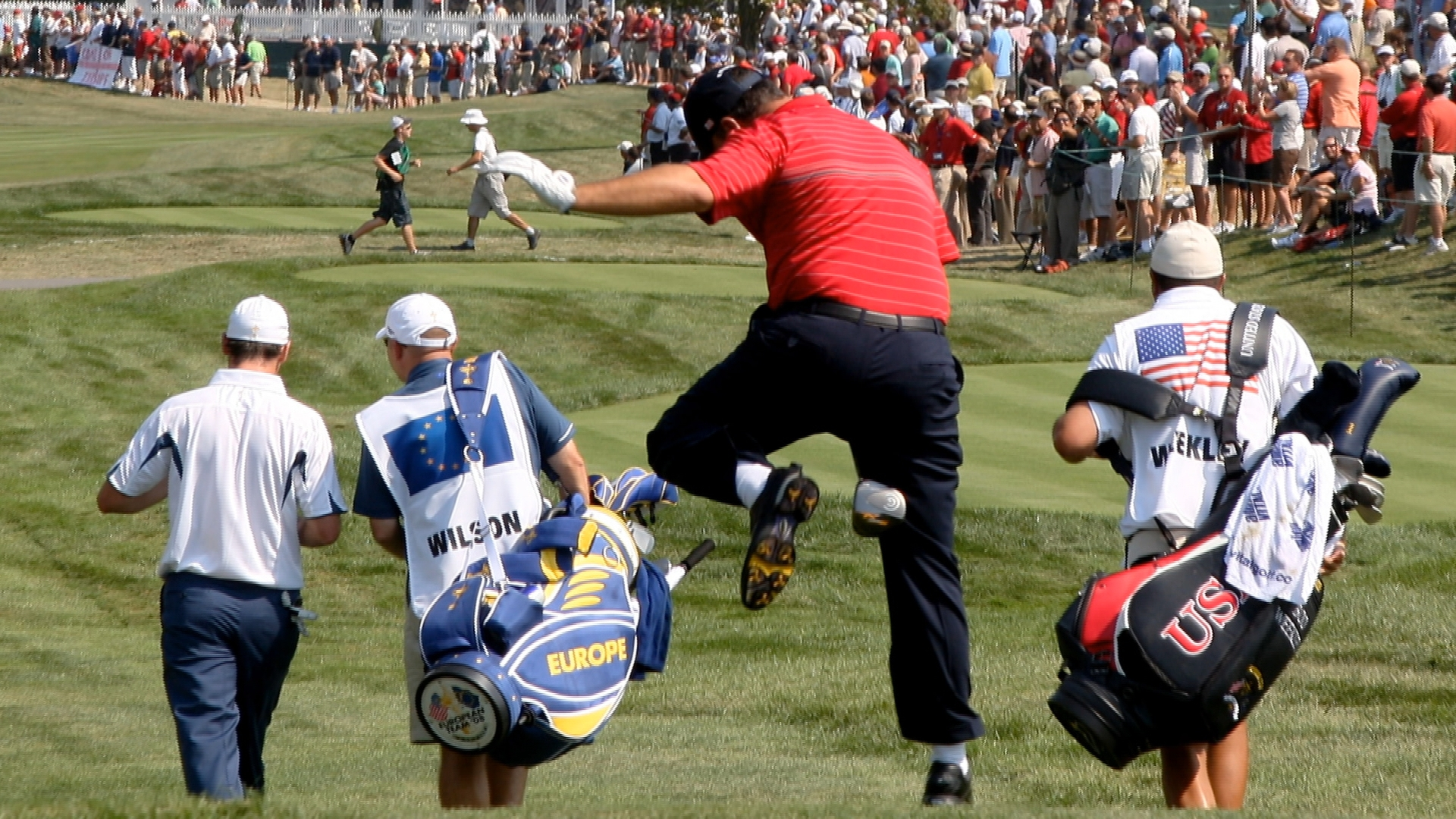 During Sunday's Ryder Cup singles matches, Boo Weekley rides off the first tee in full Happy Gilmore style. (2008)