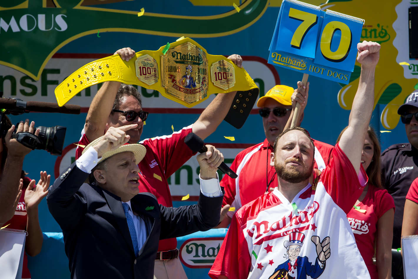 Joey Jaws Chestnut sets a new Nathan's Fourth of July hot dog eating record.  #skeelz (2016)