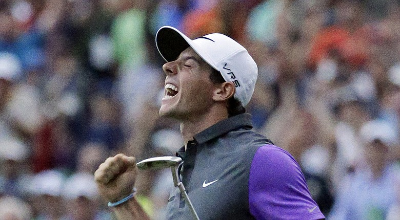 Rory McIlroy celebrates winning the 94th PGA Championship at Valhalla (2014)