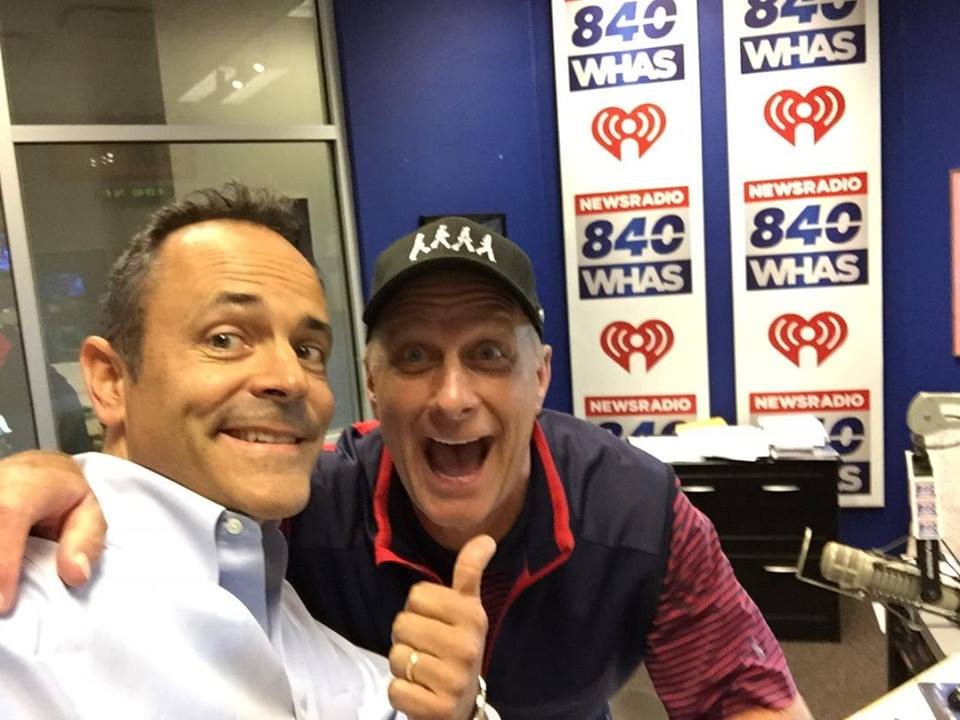 Ky Governor Matt Bevin with me in the WHAS Radio studio, August 17, 2016