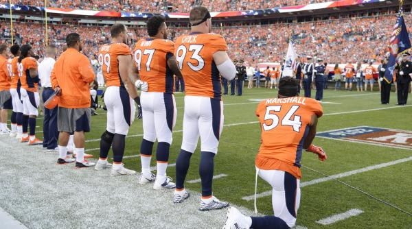 Brandon Marshall takes a knee during the national anthem at the September 8th NFL season opener