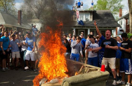 UK fans burn couch