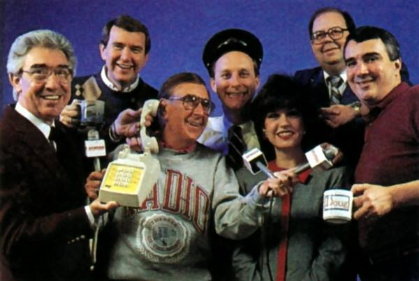 WHAS radio team 1990 Wayne Perkey, Jack Fox, Milton Metz, Terry Meiners, Diane Williamson, Joe Donovan, and Doug McElvein