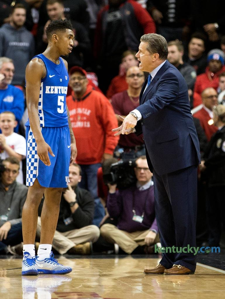 Malik Monk gets an earful from John Calipari (photo by Lexington Herald Leader)