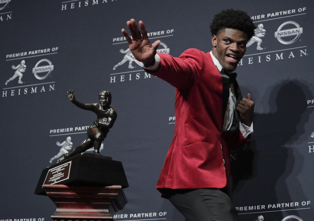 Lamar Jackson and his Heisman Trophy, December 10, 2016