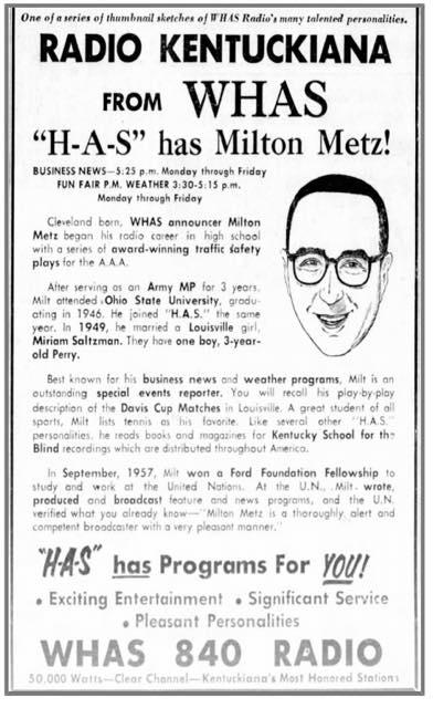 milton metz show ad