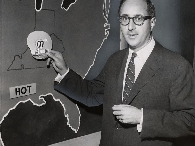 Milton Metz delivers the weather news on WHAS-TV in the 1960s