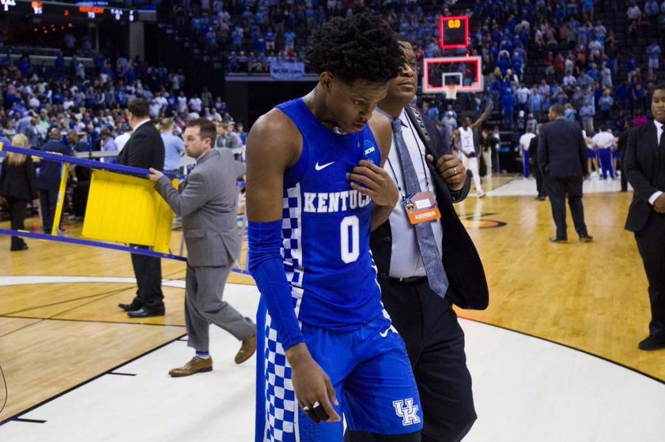 De'Aaron Fox after losing to UNC in 2017 March Madness regional final (photo: Herald Leader)