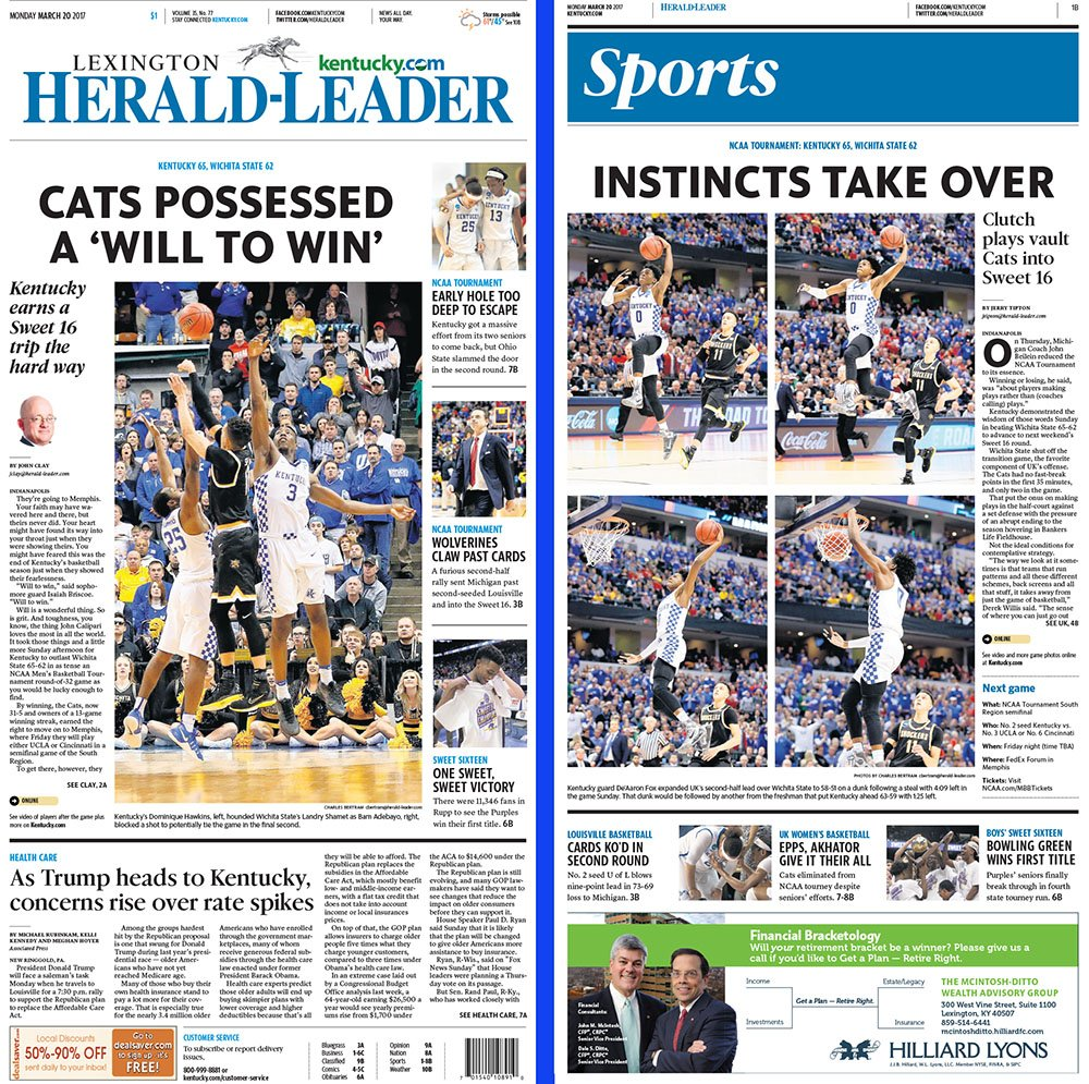 herald leader cover uk wins vs wichita