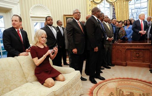Kellyanne Conway in the Oval Office with college presidents and President Donald Trump, March 2017