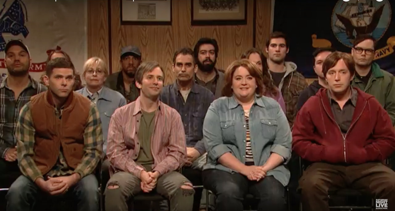 cast members of Saturday Night Live costumed as residents of Union, Kentucky (screenshot of SNL, April 8, 2017)