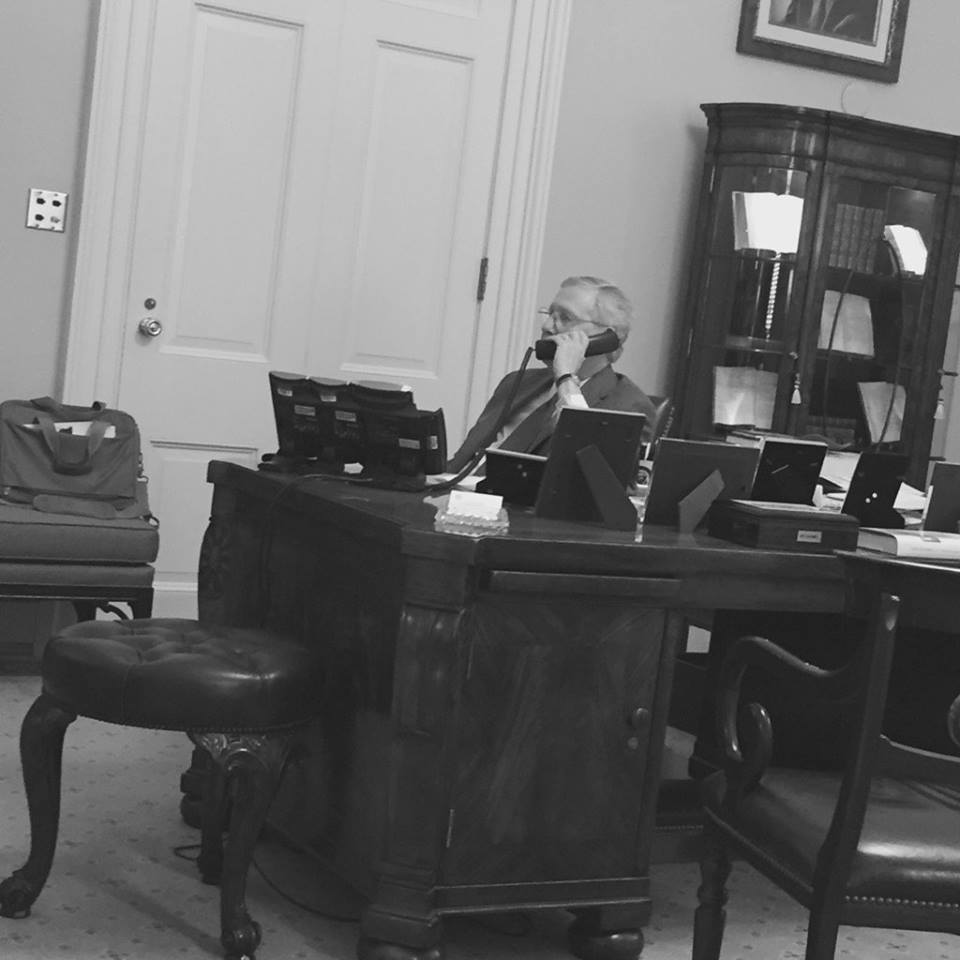 Senate Majority Leader being interviewed by Terry Meiners on WHAS Radio, April 5, 2017 (photo credit: McConnell press office)