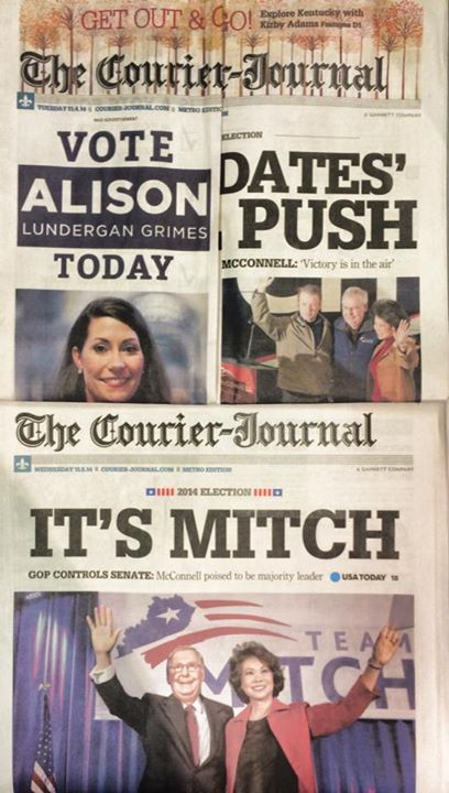 On election day 2014, the Courier Journal sold the cover wraparound ad to Democrat Alison Grimes.