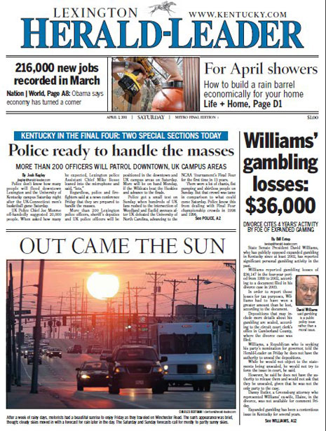 herald leader david williams gambling losses